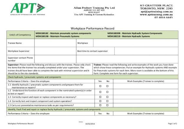 Basic Workplace Performance Record - APT Hydraulics